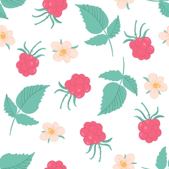 Cute raspberry pattern with flowers blossom and leaves. hand drawn illustration with berries.