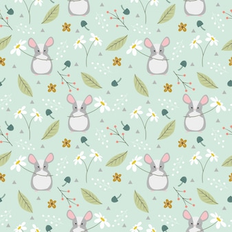Cute rat, flower and leaf seamless pattern