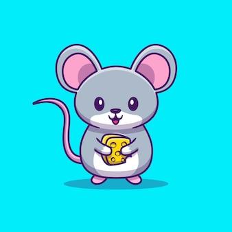 Симпатичные крысы мыши держать сыр значок иллюстрации. концепция животных значок изолированы. плоский мультяшный стиль