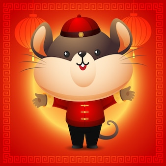 Cute rat in red chinese costume