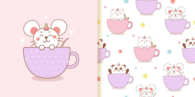 Cute rat unicorn cat and panda cartoon in a cup seamless pattern.