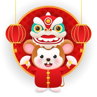 Cute rat wearing chinese costume with dragon in new year chinese