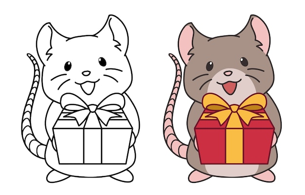 Cute rat wearing santa hat gives a present. contour and colored pictures. hand drawn vector illustration.