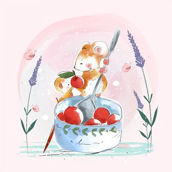 Cute rat with a bright red berry bowl in an old vintage paper style.