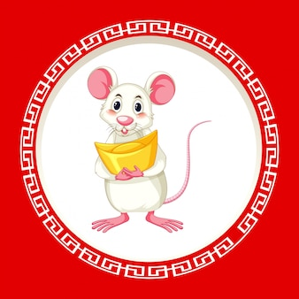 Cute rat with gold on round frame