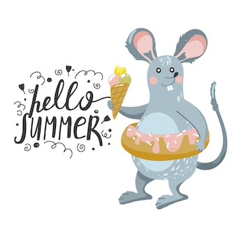 Cute rat with ice cream and swimming ring.