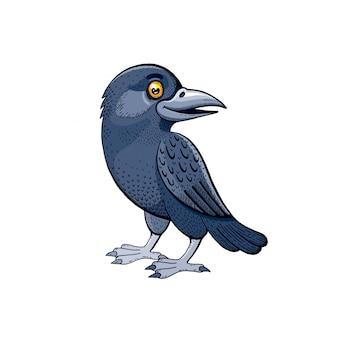 Cute raven bird. cartoon crow baby with sweet smile.