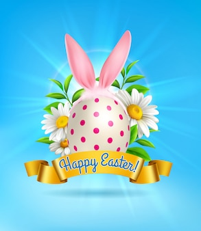 Cute realistic easter composition with painted egg bunny ears and flowers on blue