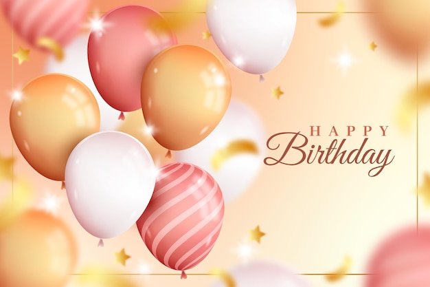 Cute realistic happy birthday balloons background