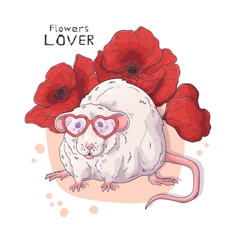 Cute realistic rat with flowers.