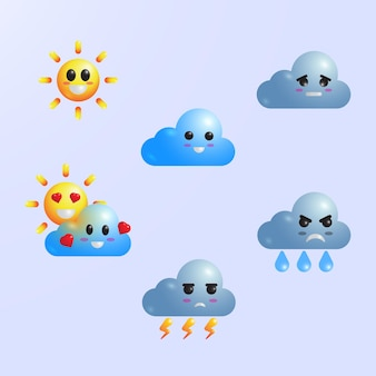 Cute realistic weather icon set