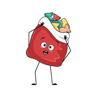 공황 상태에 빠진 감정이 있는 새해 선물을 들고 있는 귀여운 빨간 가방 캐릭터는 머리, 놀란 얼굴, 충격을 받은 눈, 팔, 다리를 움켜잡습니다. 메리 크리스마스 아이템, 즐거운 달콤한 음식, 겁먹은 표정의 상자