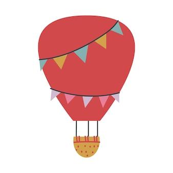 かわいい赤い風船輸送。子供のためのベクトル印刷。空を飛ぶ。保育園や版画のミニマリズム。ベビーアートクリップアート孤立した空