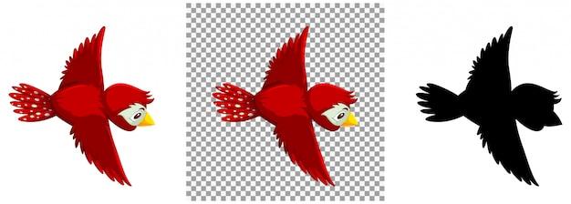 Cute red bird cartoon character
