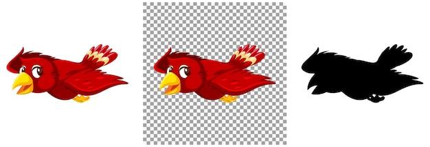 Симпатичная красная птица мультипликационный персонаж