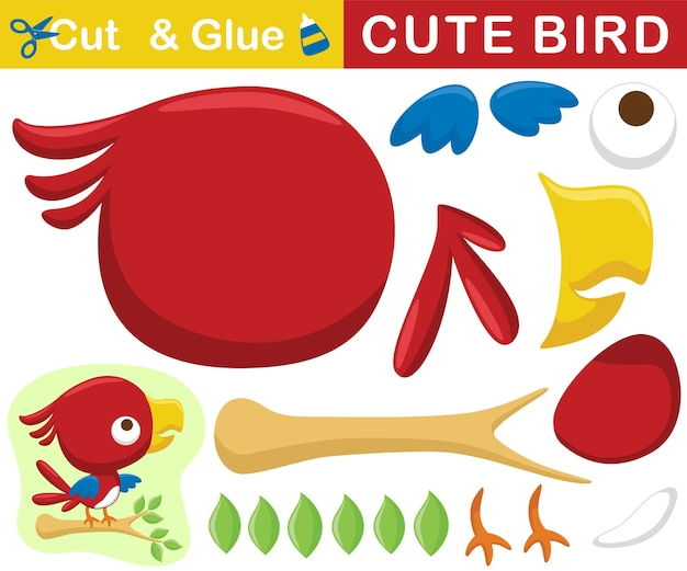 Cute red bird perch on tree branches. education paper game for children. cutout and gluing.   cartoon illustration