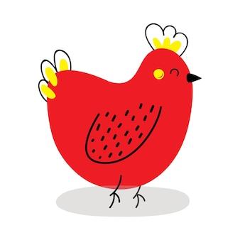 かわいい赤い鶏。ベクトルイラスト