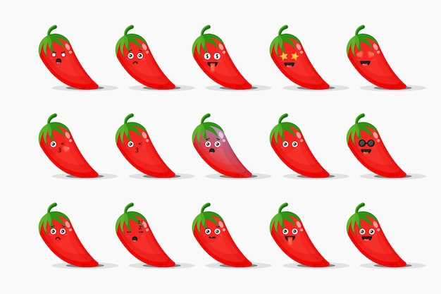 Cute red chilies with emoticons set