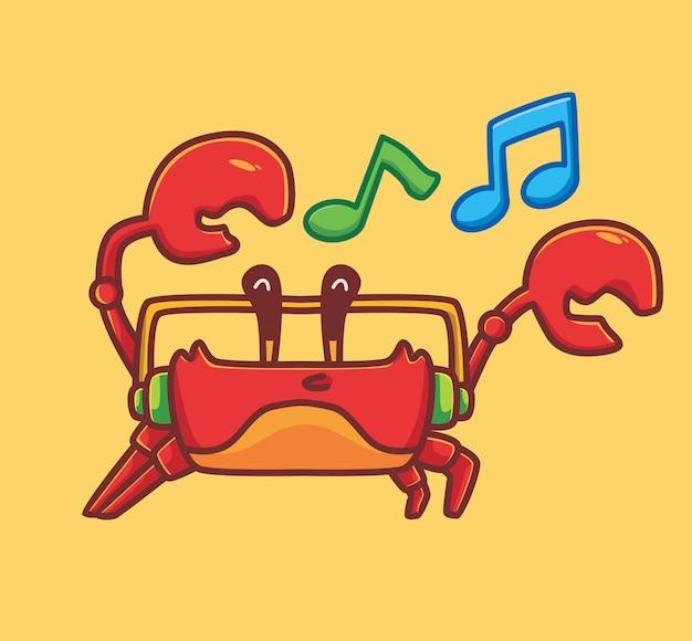 ヘッドフォンで音楽を聴いている大きな爪を持つかわいい赤いカニ。動物隔離漫画フラットスタイルアイコンイラストプレミアムベクトルロゴステッカーマスコット