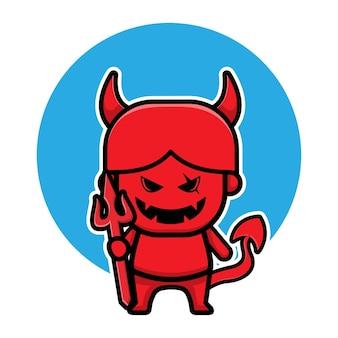 かわいい赤い悪魔のハロウィーンの漫画のベクトル図