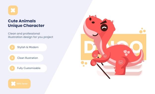 귀여운 빨간 공룡 아이콘 그림입니다. 동물 사랑 아이콘 개념