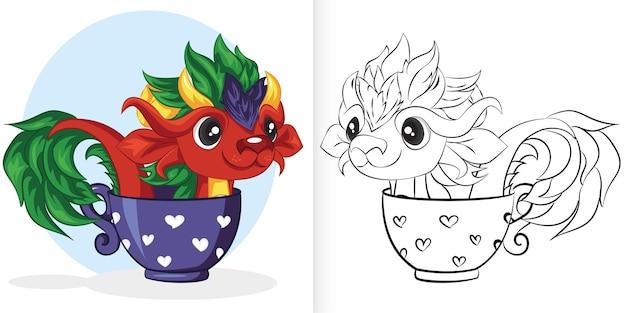 Милый красный дракон в чашке. книжка-раскраска