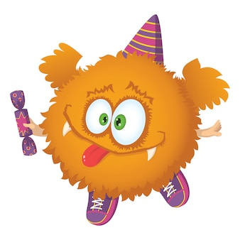 Cute red fluffy character with wings, sneakers, party cap and candy.