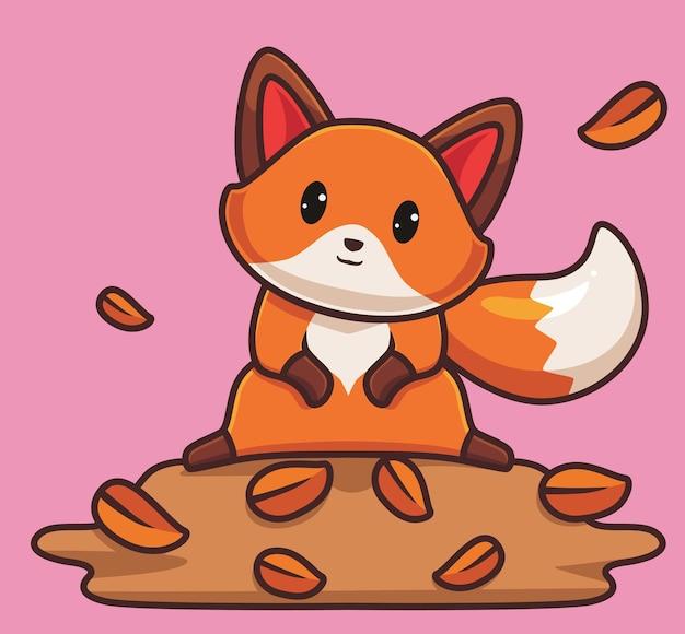 귀여운 붉은 여우 재생 나뭇잎 만화 동물 가을 시즌 개념 격리 된 그림 평면 스타일