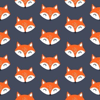 Cute red fox seamless pattern.  animals background. all over
