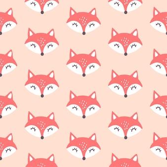 Cute red fox seamless pattern.