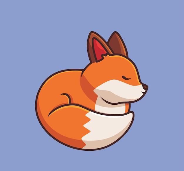 귀여운 붉은 여우 잠자는 만화 동물 가을 시즌 개념 격리 된 그림 플랫 스타일
