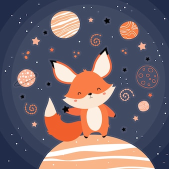 Cute red fox in space