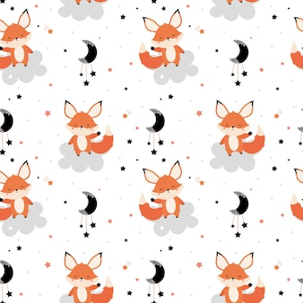 Cute red fox with a star