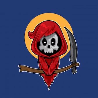 Cute red grim reaper