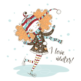 Милая рыжеволосая девушка в вязаной шапке на коньках зимой.
