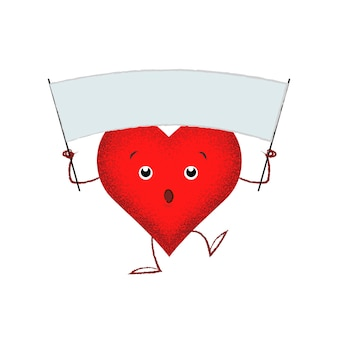 Cute red heart holding blank banner
