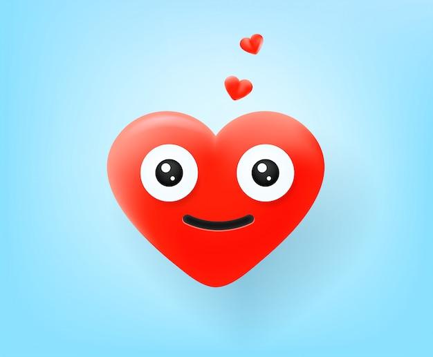 Симпатичные красные сердца вектор смайликов