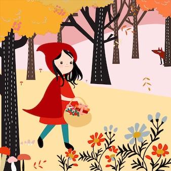 かわいい赤いフードの森の中の女の子