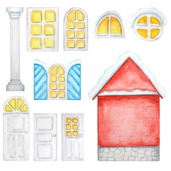 귀여운 빨간 집, 흰색 창문, 문, 크리스마스 생성자. 수채화 그림