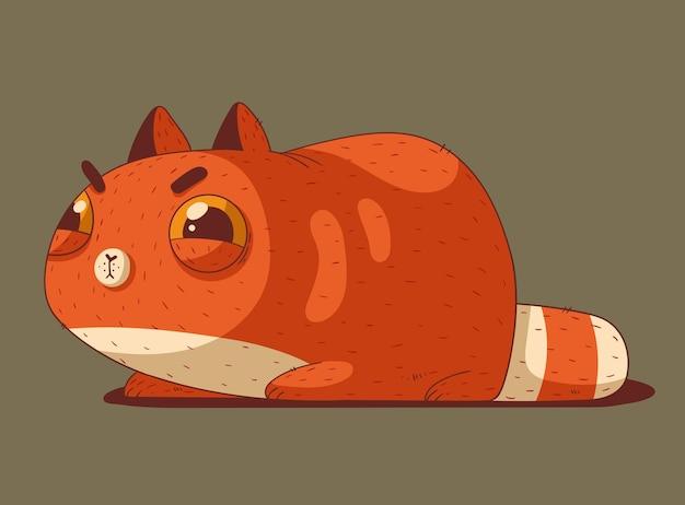 귀여운 빨간 고양이가 바닥에 누워 교활하게 보입니다.