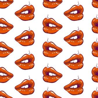 かわいい赤い唇のシームレスなパターン
