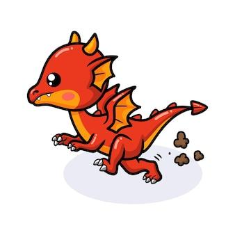 Cute red little dragon cartoon running