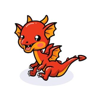 Cute red little dragon cartoon sitting