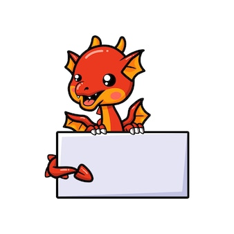 Cute red little dragon cartoon with blank sign