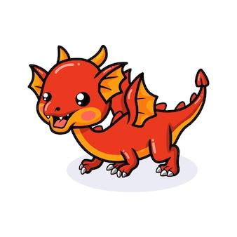 Cute red little dragon cartoon