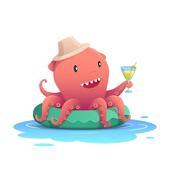 Cute red octopus on summer holiday
