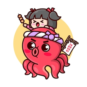 Cute red octopus wearing japanese headband with a cute girl on his head high quality cartoon mascot design