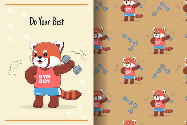 Cute red panda barbell seamless pattern and illustration