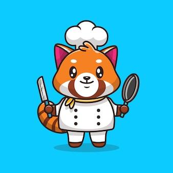 Cute red panda chef   icon illustration. flat cartoon style