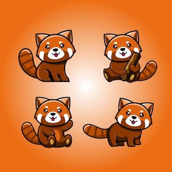 かわいいレッサーパンダのデザインロゴ